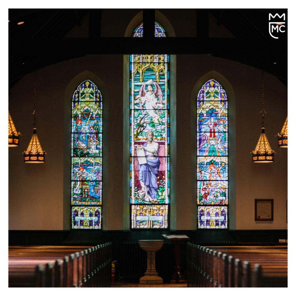 Lee McKing in a chapel